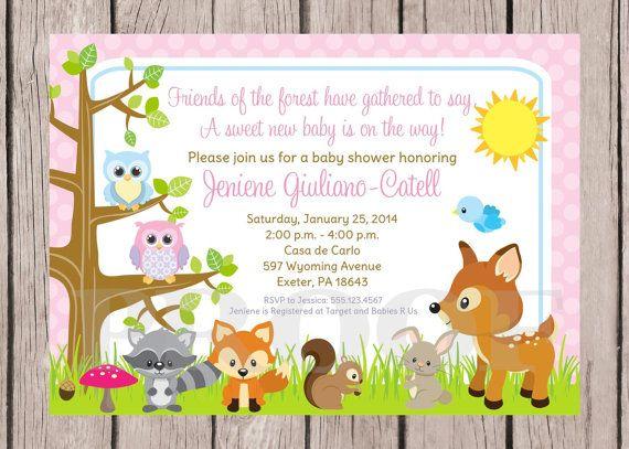woodland animals baby shower invitations  Printable Woodland Animals