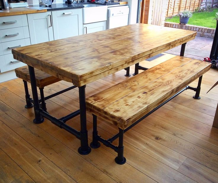 Industrial Rustic Gas Pipe Style Scaffold Board Plank Dining Table And Bench
