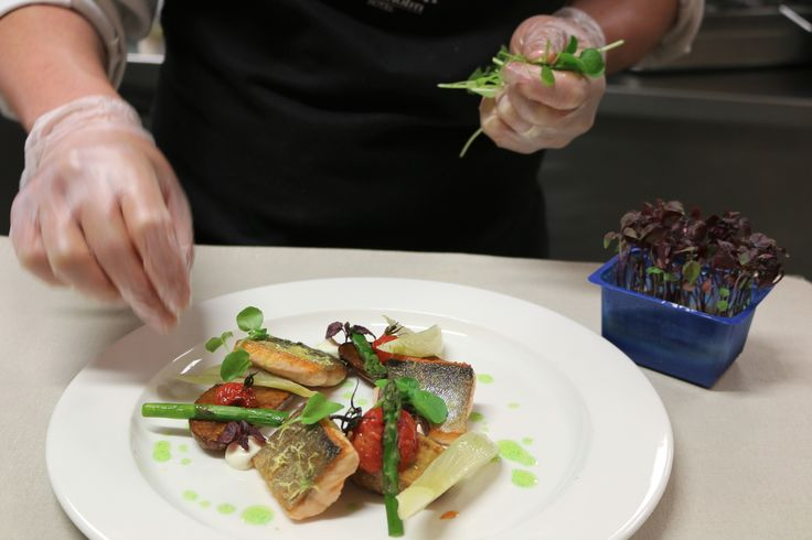 Char baked with lemon served with smoked mayonnaise, baked tomato, fennel, asparagus and fried potatoes