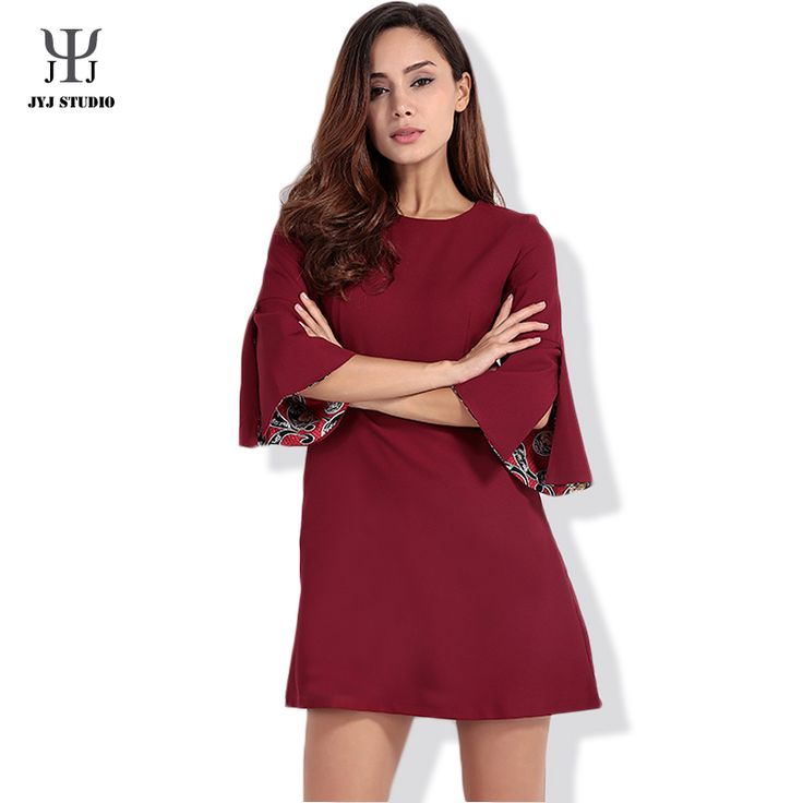 Aliexpress.com : Buy Summer Casual A line One piece Plus Size Dress For Women Pagoda sleeve O neck Polyetser Pure Color Red Dress XS XXL from Reliable size 28 prom dress suppliers on JYJ STUDIO