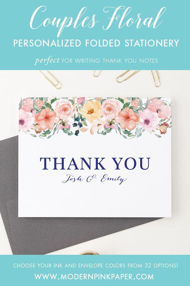 Personalized Wedding Thank You Cards Folded Couples Stationery Set
