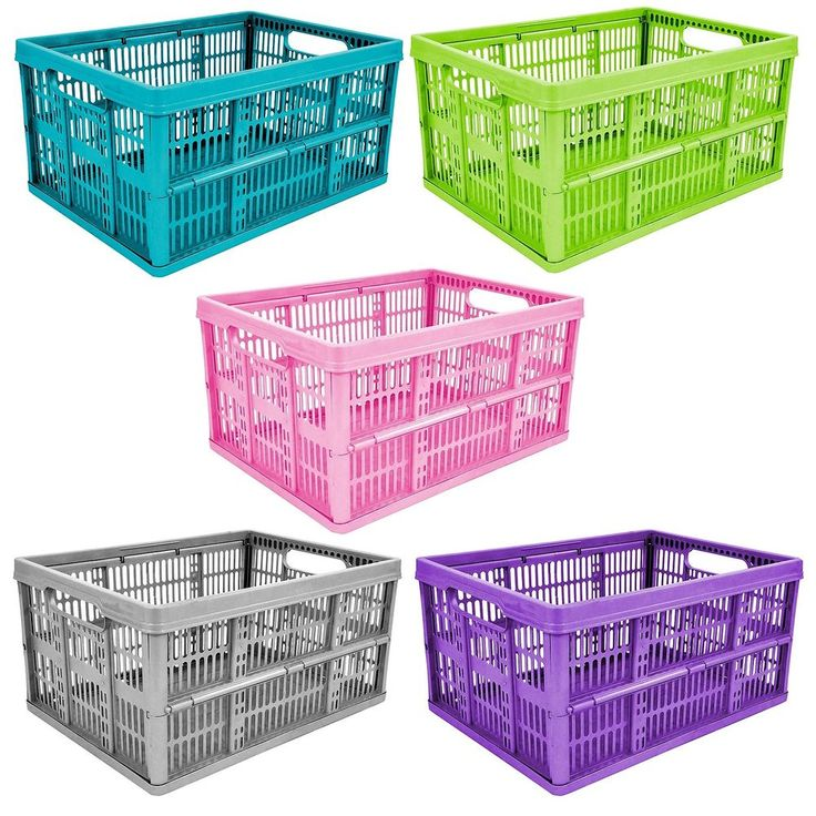 32L Plastic Folding Storage Container Basket Crate Carry Box Stack Trendy