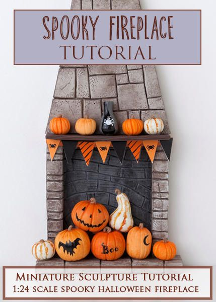 Spooky Fireplace Miniature Sculpture Tutorial  PDF tutorial teaches how to make a spooky fireplace in 1:24 miniature scale using polymer clay and other materials.