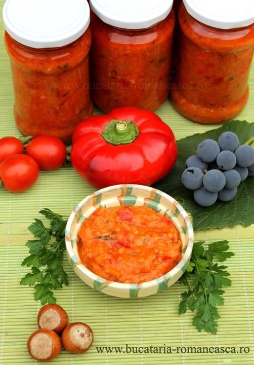 Romanian traditional vegetable stew for winter time Roasted eggplants , tomatoes , bell peppers , onions , garlic , condiments . Other recipes includes mushrooms .