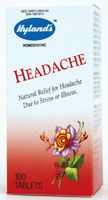 Hyland's HEADACHE  -- is a traditional homeopathic formula for the relief of symptoms of head pain due to stress and sick or nervous headache. Pain may be either right or left sided and may extend to the base of the neck. Working without contraindications or side effects, Hyland's Headache stimulates your body's natural healing response to relieve symptoms. Hyland's Headache is safe for adults and children and can be used in conjunction with other medications.