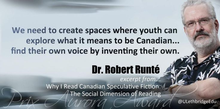 """Robert Runté won a 2014 Aurora Award for his presentation Why I Read Canadian Speculative Fiction: The Social Dimension of Reading"""". Scholar Keynote Address, Academic Conference on Canadian Science Fiction and Fantasy, June 8, 2013. (Pin design by Darcy Tamayose)"""