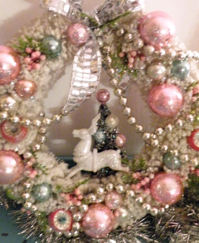 Vtg Xmas Bottle Brush Wreath Pink Shiny Brite Ornaments Reindeer Tree Diorama | eBay