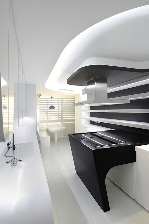 This futuristic apartment is an apartment remodel by a cero with a super modern black and white color theme it dominant in white color with black