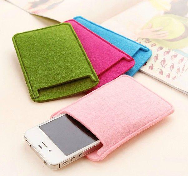 Stylish Mobile Phone iPhone MP4 MP3 Holder Cover Eco Bag Case Card Purse Felt