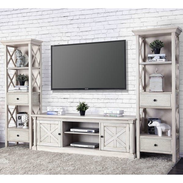 Furniture Of America Lyle Rustic White Solid Wood 2 Cabinet Tv