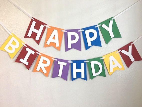 Rainbow Happy Birthday Banner Custom birthday banner 1st