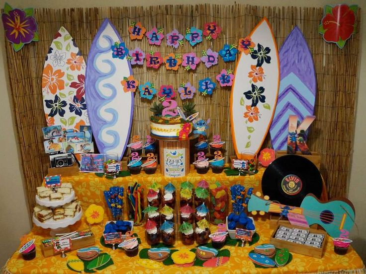 Tropical Lilo & Stitch luau birthday party! See more party ideas at CatchMyParty.com!
