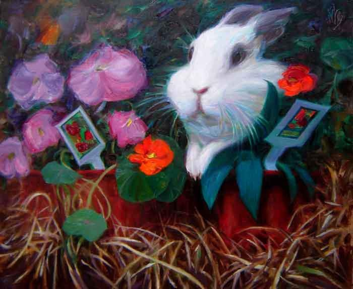 "John Kilroy -  "" I'm Late, I'm Late"" -portrait of Julia the Rabbit- 16"" x 20"""