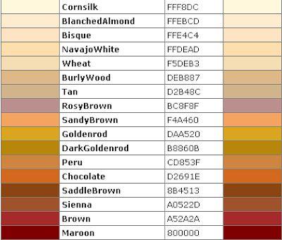 recipe: html color codes list [31]