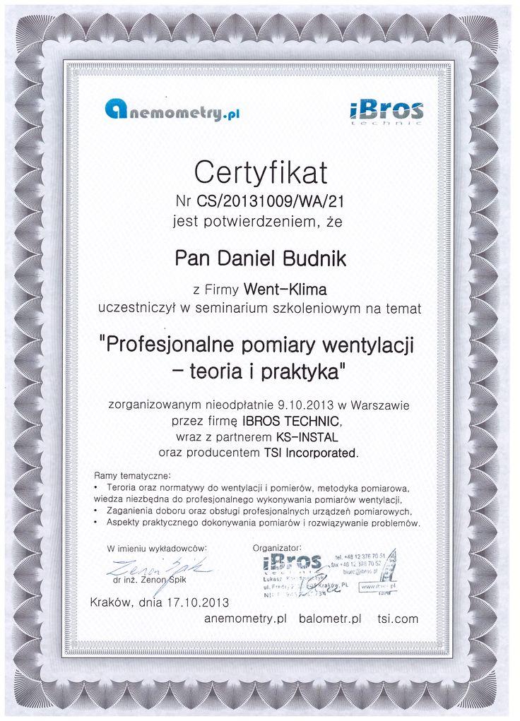 Certyfikat ze szkolenia z pomiarów wentylacji