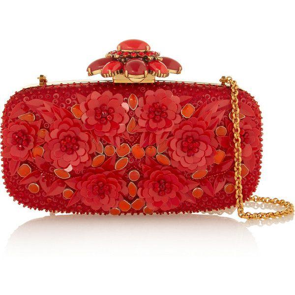 Oscar de la Renta Embellished silk-satin box clutch found on Polyvore