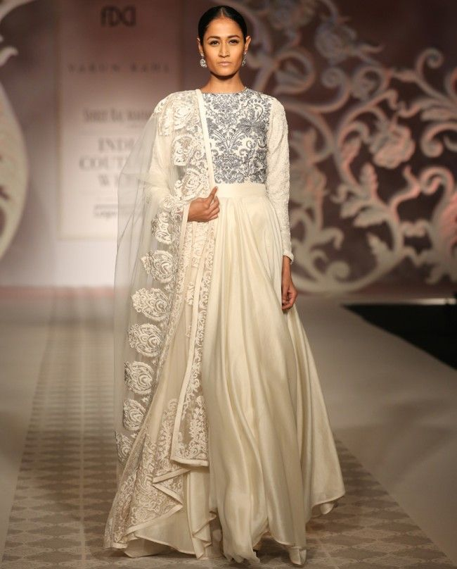 Ivory Anarkali Suit with Dabka Work by Varun Bahl | India Couture Week 2014
