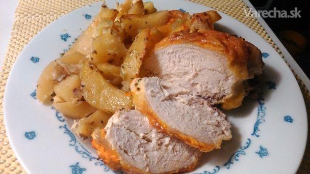 Pečené kura so zemiakmi a syrom (fotorecept)