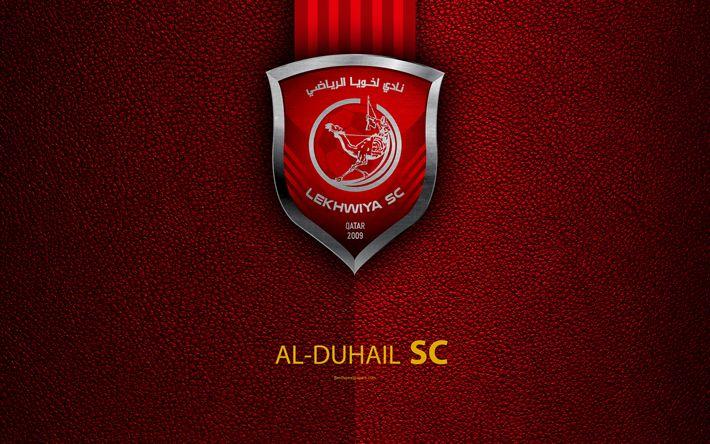 Download wallpapers Al-Duhail SC, 4k, Qatar football club, red leather texture, Al-Duhail logo, Qatar Stars League, Doha, Qatar, Premier League, Q-League