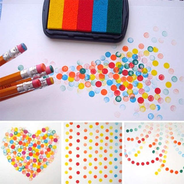 Cute stamp fun for texture. Try cotton swabs also. ;D #stamp #diy