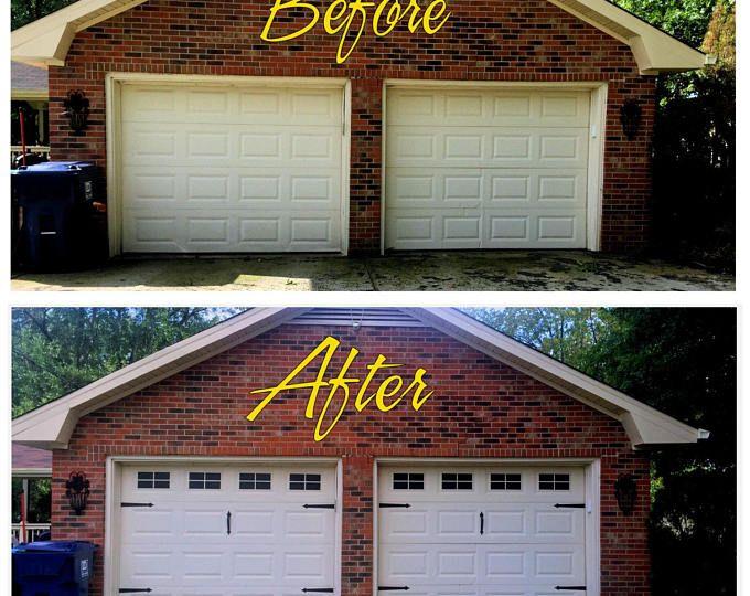 Carriage House Style Vinyl Garage Door Decal Kit Faux Windows Etsy In 2020 Garage Door Styles Garage Door Design Vinyl Garage Doors