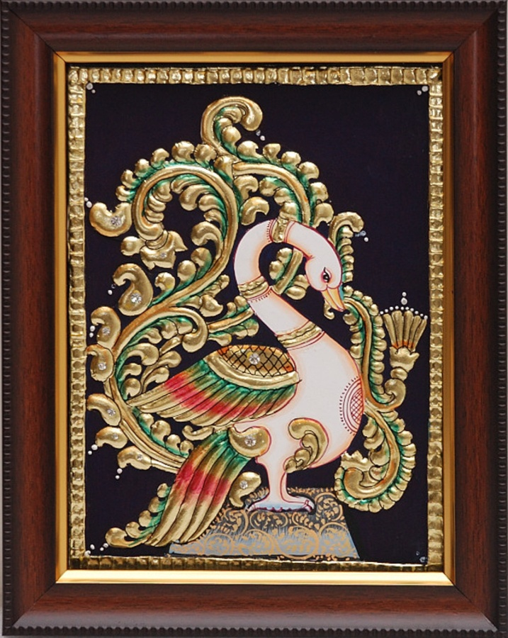 Peacock [31904] - peacock, tanjore paintings, Indian Handicrafts, Indian Handicrafts Online