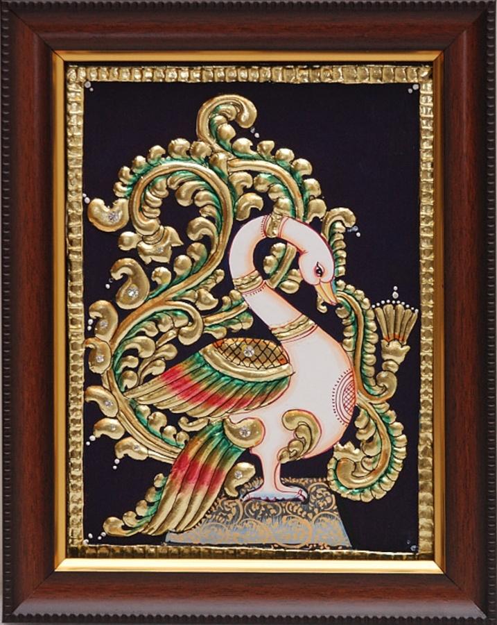 Peacock [31904] - peacock, tanjore paintings, Indian Handicrafts, Indian Handicrafts Online