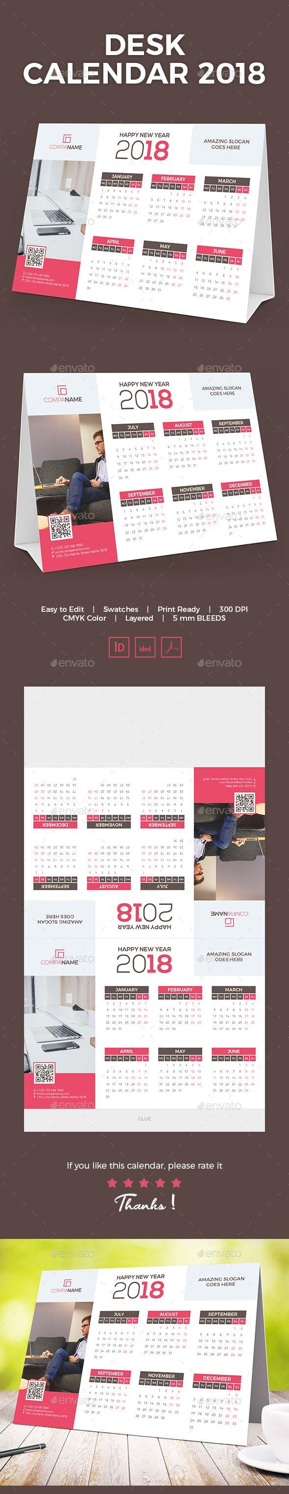 Desk Calendar 2018 - Calendars Stationery #calendars #stationery #DeskCalendar #graphicriver #Design #Desk