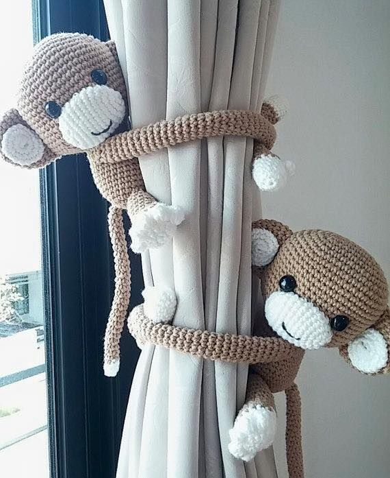 crochet money stuffed figures curtain holders
