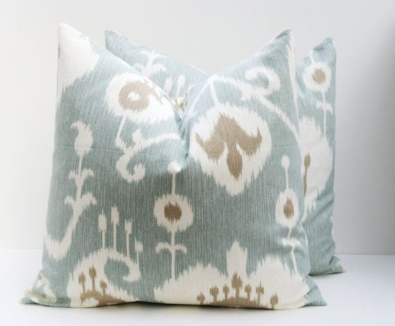 Throw Pillow Covers 18x18 Spa Blue Pillow  Blue Green Pillow Decorative Throw Pillows Printed fabric both sides