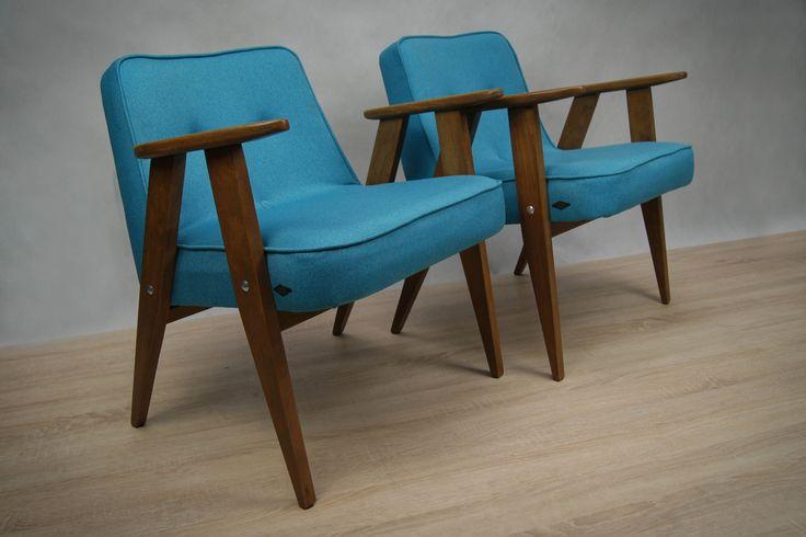 Para foteli 366, proj. J. Chierowski, lata 60.