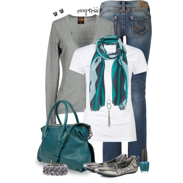 Casual Outfits | Scarf Style Diano colored bags will always be nice with white top and a jeans ❤️❤️❤️