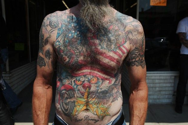 Paul barney of toledo ohio barney 39 s tattoos include an for American outlaw tattoo