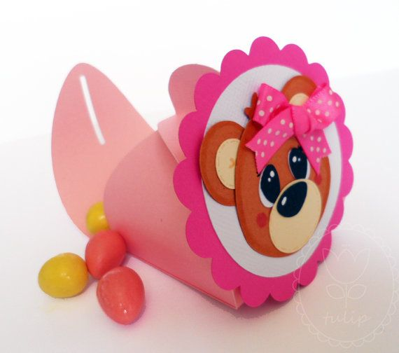 Baby Girl Shower / Birthday - candy boxes / party favors  - Bear (set of 5)