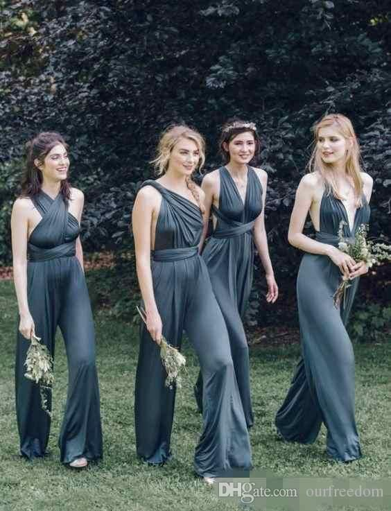 Convertible 2017 Newest Ink Navy Blue Chiffon Jumpsuits Bridesmaid Dresses Fashion Clothes For Wedding Guest Long Maid Of Honor Jumpsuits Bridesmaid Dress Sale Bridesmaid Dress With Sleeves From Ourfreedom, $89.55| Dhgate.Com