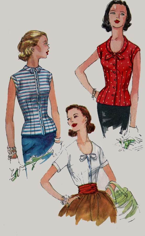 1950s Blouse and Overblouse Fitted U Shaped Neckline  Simplicity 1546 50s Vintage Sewing Pattern Size 14 Bust 32 by sandritocat on Etsy