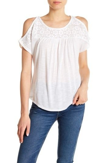 d779a2a3c57e19 Lace Yoke Cold Shoulder Blouse by Lucky Brand on @nordstrom_rack