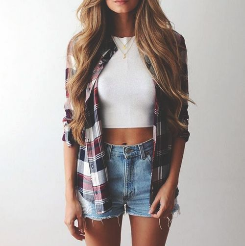 flannel shirt + denim shorts
