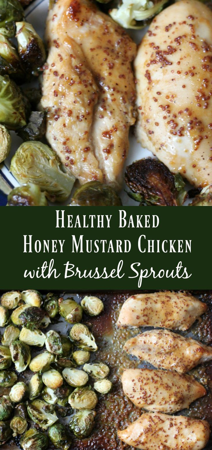 Healthy Baked Honey Mustard Chicken with Brussel Sprouts. Easy meal prep dinner recipe.