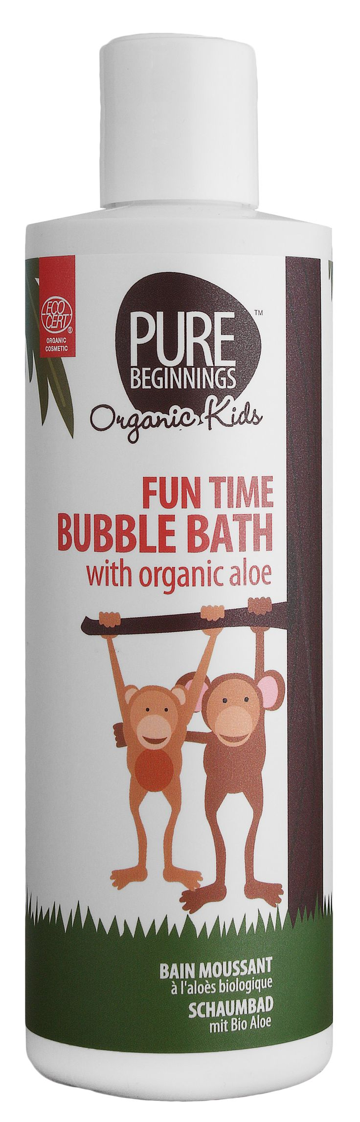 250ml FUN TIME BUBBLE BATH - with organic aloe **Turns children's bath time into fun **pH balanced to that of the skin **Ultra-mild surfactants – will not strip the skin of natural oils  **Organic aloe extract – soothing, antibacterial **Organic orange peel oil – calming and anti-inflammatory properties **Perfect for girls who are prone to thrush **Organic ylang ylang flower oil – fragrant skin balancing oil with relaxing properties