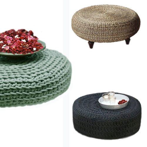 Pufs de #neumáticos revestidos con crochet, trapillo, o/y cuerda. #Reciclaje de neumáticos en #decoración • Recycled tyres