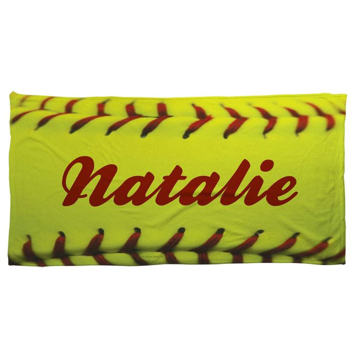 Beach Blanket Volleyball: Softball Beach Towel Personalized Softball Stitches