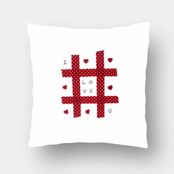 Love Tic-Tac-Toe Cushion Cover #cushion #pillow #cushioncover #love  #redandwhite