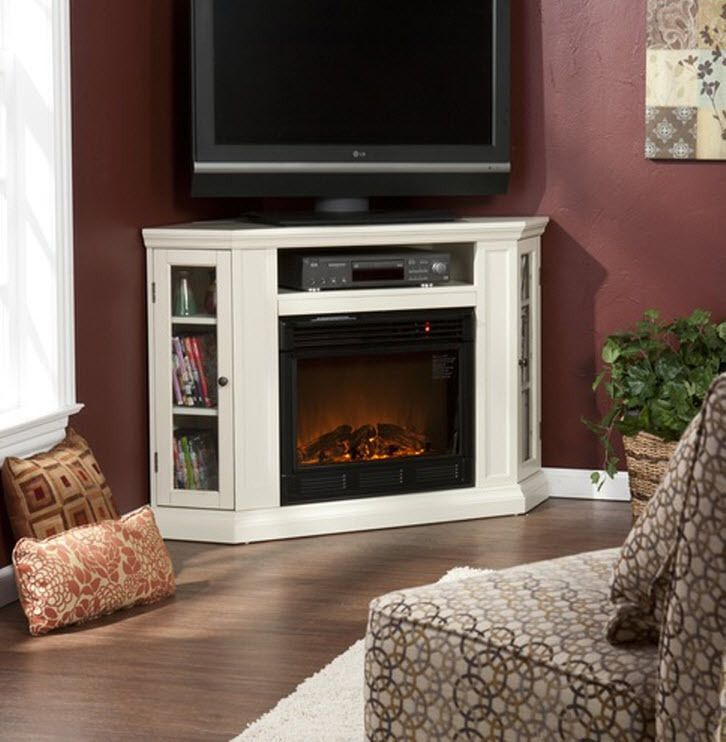White Electric Infrared Fireplace Heater Media Entertainment Corner LCD TV Stand