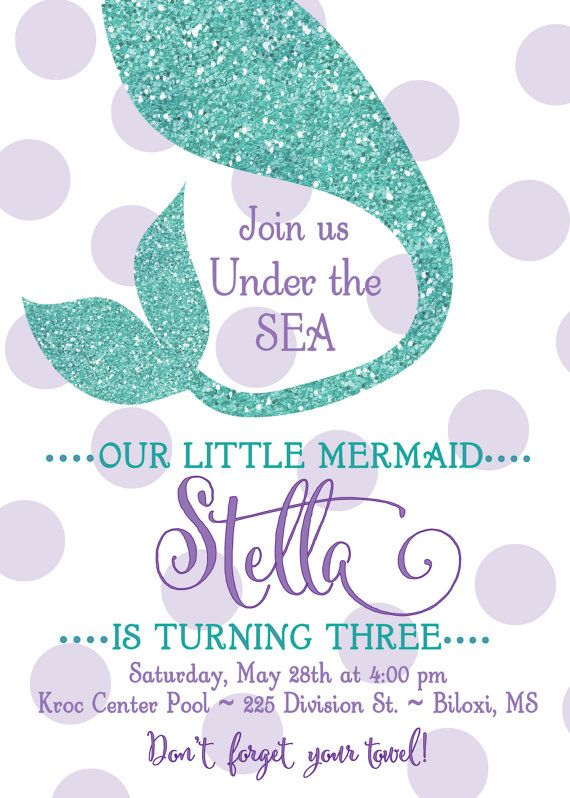 Mermaid Birthday Party Invitation..Under the Sea by GenerationsInk