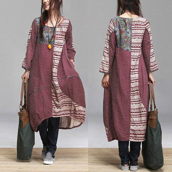 Cotton Patchwork link temperament women dress / ethnic style purse Neck Dress