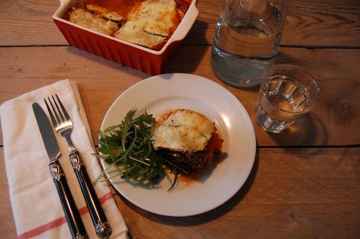 Courgettelasagne met gehakt, tomaat en champignons