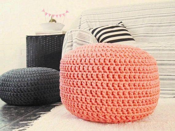 Floor Cushions For Nursery : Coral Ottoman Nursery Footstool Pouf- Coral Nursery Decor-Coral Nursery Furniture-Crochet Floor ...