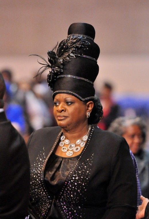 Tall embellished black church hat COGIC Convocation