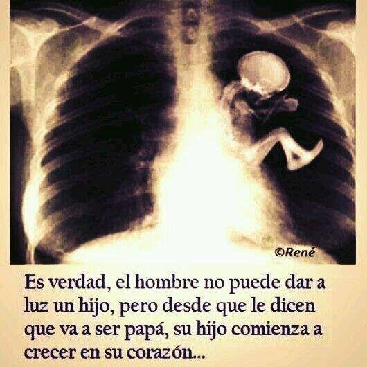 Es verdad, el hombre no puede dar a luz un hijo, pero desde que le dicen que va ser papá, su hijo comienza a crecer en su corazón…